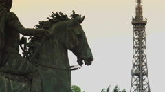 Equestrian statue of Louis XIV on the Place Bellecour., ULTRA HD 4k, real time Stock Footage