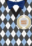 Fathers Day on argyle background Stock Illustration