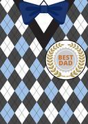 Fathers Day on argyle background - stock illustration
