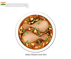 Indian Chicken Curry, A Famous Dish in India - stock illustration