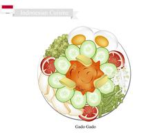 Gado Gado or Indonesian Vegetable Salad with Peanut Sauce Stock Illustration