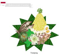 Tumpeng or Indonesian Cone Shaped Rice with Assorted Indonesian Foods - stock illustration
