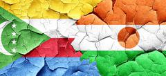 Comoros flag with Niger flag on a grunge cracked wall Stock Illustration