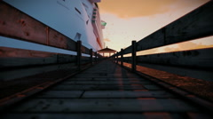 Passengenrs waiting to embark on cruise ship, timelapse sunrise, sound includ Stock Footage