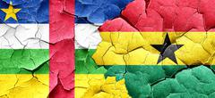 Central african republic flag with Ghana flag on a grunge cracke Stock Illustration