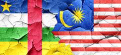 Central african republic flag with Malaysia flag on a grunge cra Stock Illustration