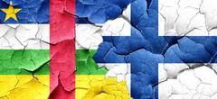Central african republic flag with Finland flag on a grunge crac Stock Illustration