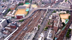 Aerial view of traffic in Osaka, Japan Stock Footage