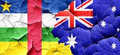 Central african republic flag with Australia flag on a grunge cr - stock illustration