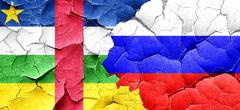 Central african republic flag with Russia flag on a grunge crack - stock illustration