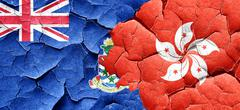 cayman islands flag with Hong Kong flag on a grunge cracked wall - stock illustration