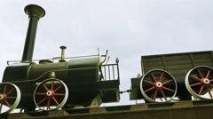 Old black locomotive. nostalgic technology background. timelapse Stock Footage