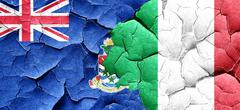 cayman islands flag with Italy flag on a grunge cracked wall - stock illustration