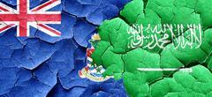 Cayman islands flag with Saudi Arabia flag on a grunge cracked w Stock Illustration