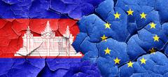 Cambodia flag with european union flag on a grunge cracked wall Stock Illustration