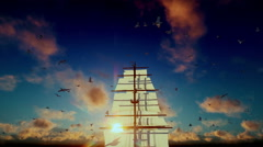 Old pirate ship sailing away, beautiful sunset with seagulls flying, tilt, sound - stock footage