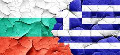 bulgaria flag with Greece flag on a grunge cracked wall - stock illustration