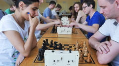 KRASNOYARSK/RUSSIA  : the tournament at the chess club, timelapse Stock Footage