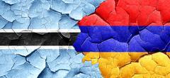 Botswana flag with Armenia flag on a grunge cracked wall Stock Illustration