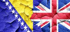 Bosnia and Herzegovina flag with Great Britain flag on a grunge - stock illustration