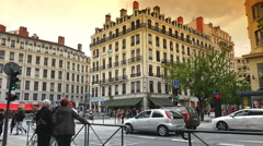 Lyon Streets, French Cityscape, Urban View In the Old City traffic ,ULTRA HD 4k Stock Footage