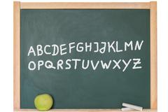 The alphabet written on a blackboard Stock Photos