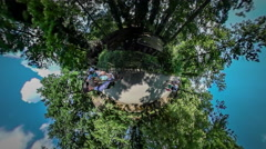 360Vr Video People on Alley of Botanic Garden Opole Park Excursion Walking by - stock footage
