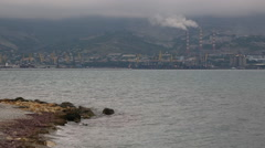 Panorama of industrial part of sea shore. Stock Footage