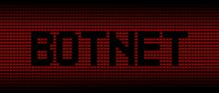Botnet text on red laptops background illustration - stock illustration