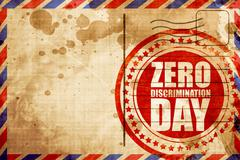 zero discrimination day, red grunge stamp on an airmail backgrou - stock illustration