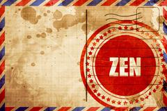 Zen meditation, red grunge stamp on an airmail background Piirros