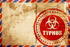 Typhus concept background, red grunge stamp on an airmail backgr - stock illustration