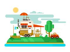 Vacation trailer flat design Stock Illustration
