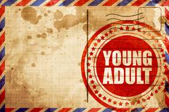 Young adult, red grunge stamp on an airmail background Stock Illustration
