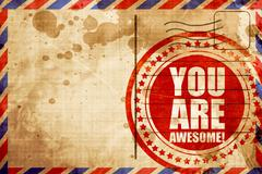 You are awesome, red grunge stamp on an airmail background Stock Illustration