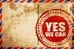 yes we can, red grunge stamp on an airmail background - stock illustration