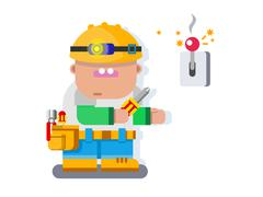 Electrician character flat design - stock illustration