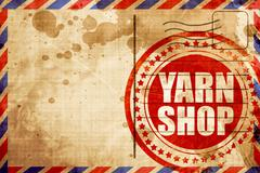 Yarn shop, red grunge stamp on an airmail background Stock Illustration