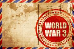 world war 3, red grunge stamp on an airmail background - stock illustration