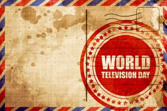 World television day, red grunge stamp on an airmail background Stock Illustration