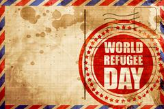 world refugee day, red grunge stamp on an airmail background - stock illustration
