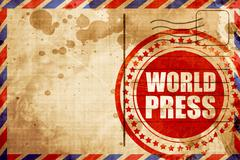 World press, red grunge stamp on an airmail background Stock Illustration