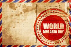 world malaria day, red grunge stamp on an airmail background - stock illustration
