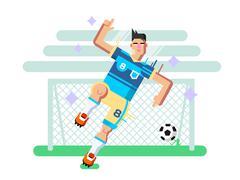 Soccer player flat design - stock illustration