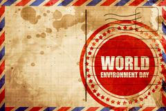 World environment day, red grunge stamp on an airmail background Stock Illustration