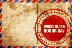 world blood donor day, red grunge stamp on an airmail background - stock illustration