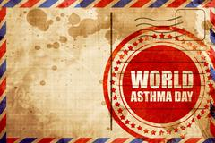 World asthma day, red grunge stamp on an airmail background Piirros