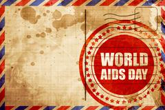 World aids day, red grunge stamp on an airmail background Stock Illustration