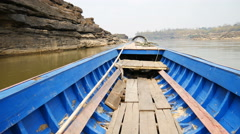 Longtail boats floating for transport on Mekong river Stock Footage