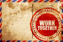 work together, red grunge stamp on an airmail background - stock illustration